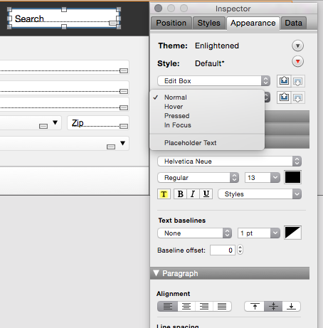 Customize the appearance of placeholder text in the Inspector.
