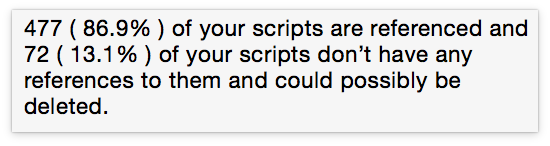 Mouseover text says that 477 (or 86.9 percent) of your scripts are referenced and 72 (or 13.1 percent) of your scripts don't have any references to them and could possibly be deleted.