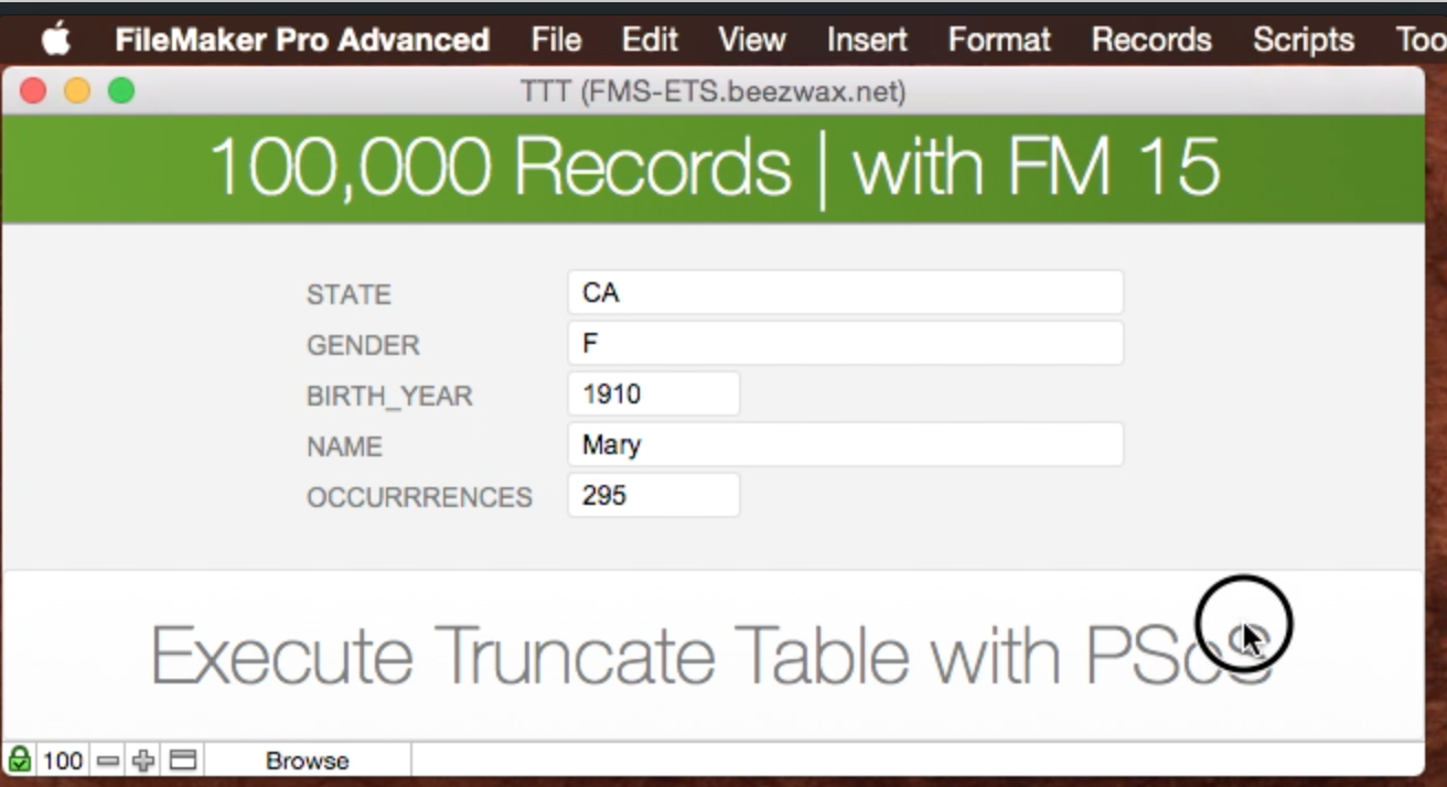 Delete 100,000 records using Truncate Table