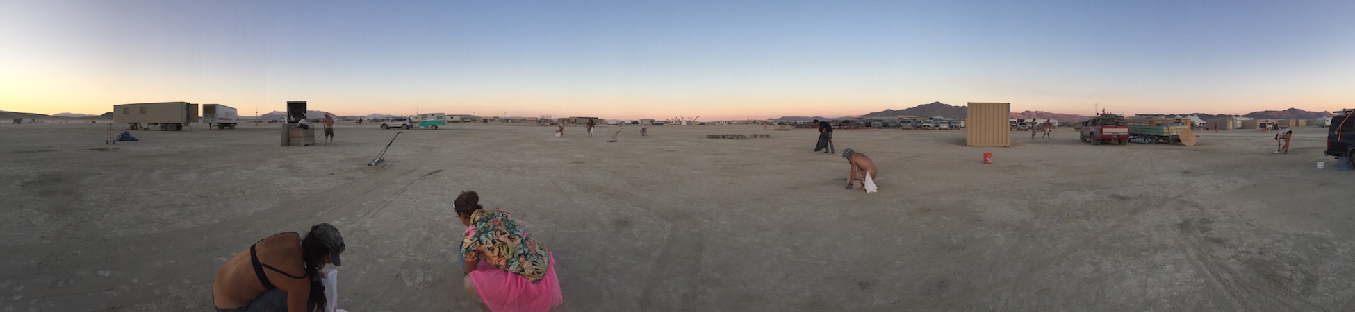 The Playa is empty except for the activity of a few.