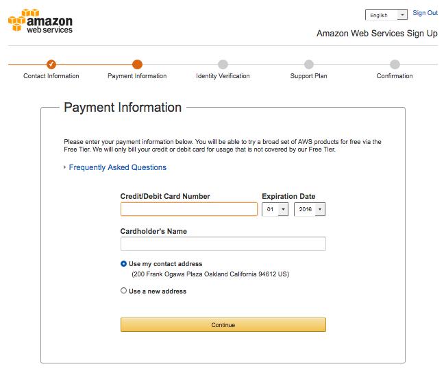 AWS Payment Info