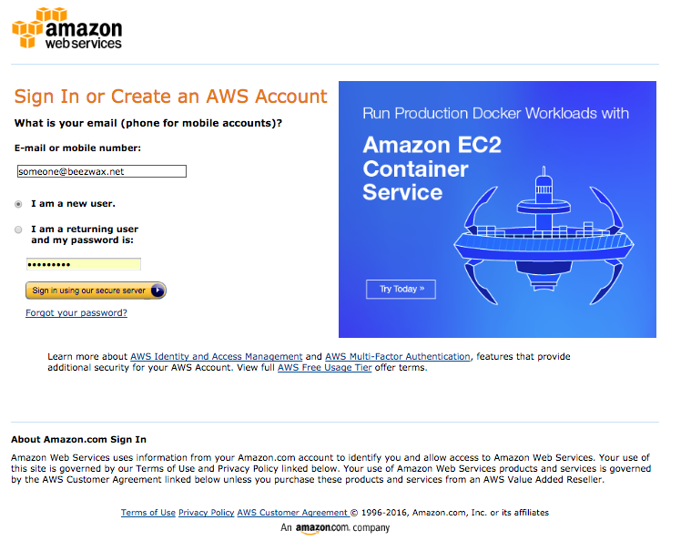 AWS sign-in