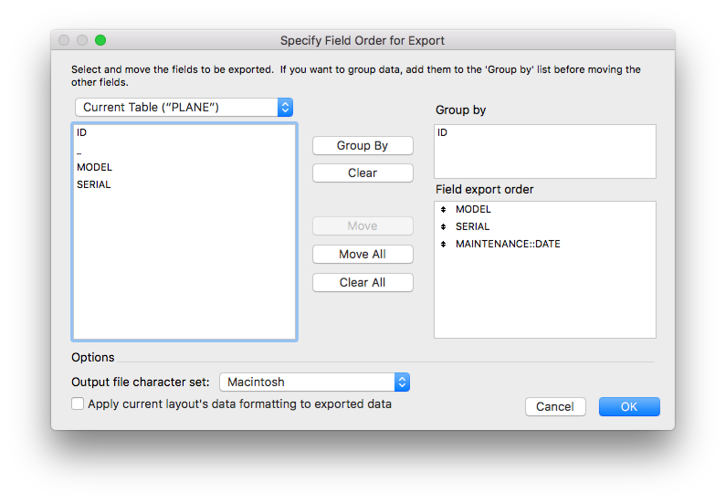 Export with Group By