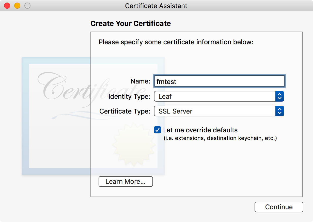 First screen for creating server certificate