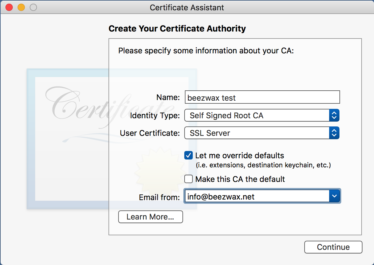 First Certificate Assistant screen for creating a root CA
