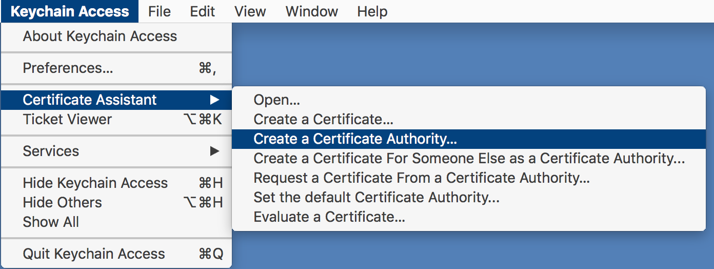 Menu selection used to launch Certificate Assistant
