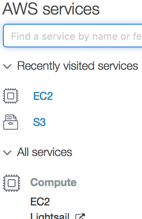 selecting EC2 dashboard
