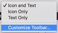Customize Toolbar menu item