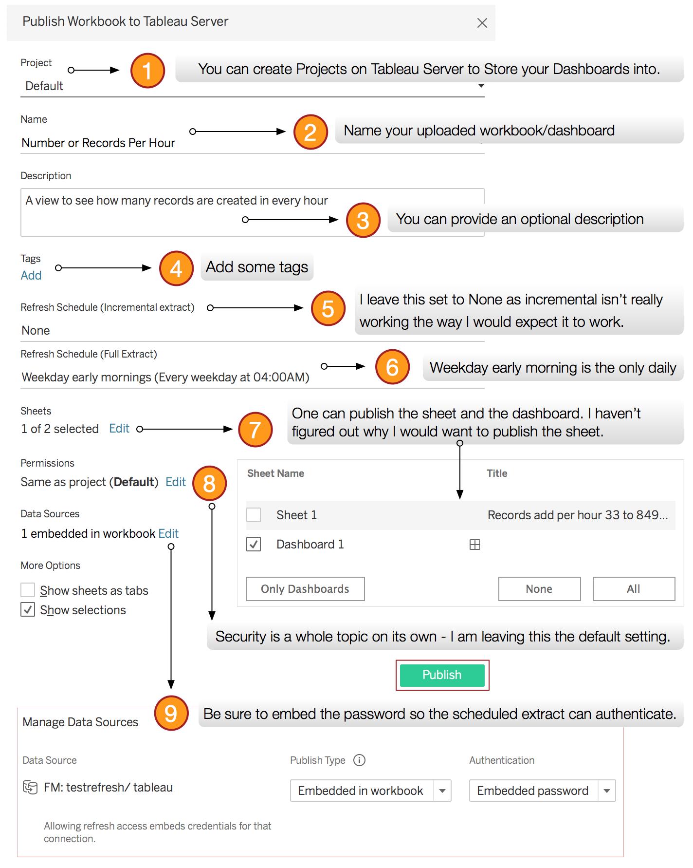 Publish Workbook to Tableau Server steps