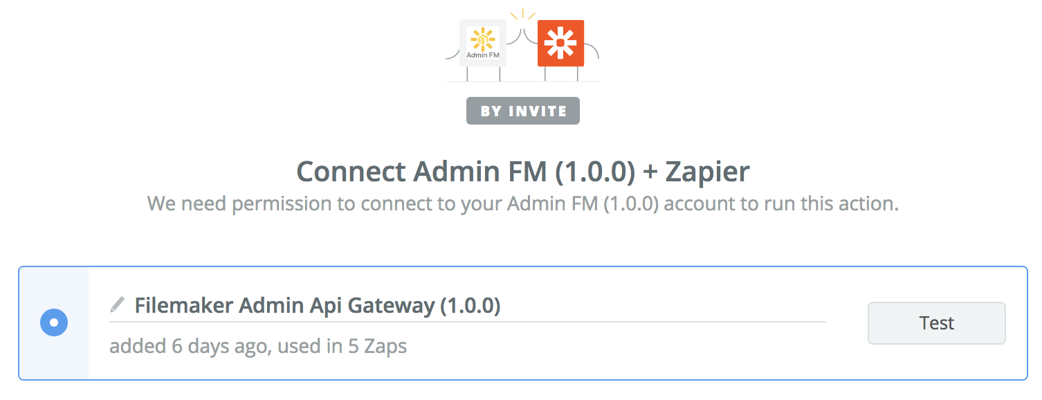 Connect Admin FM to Zapier