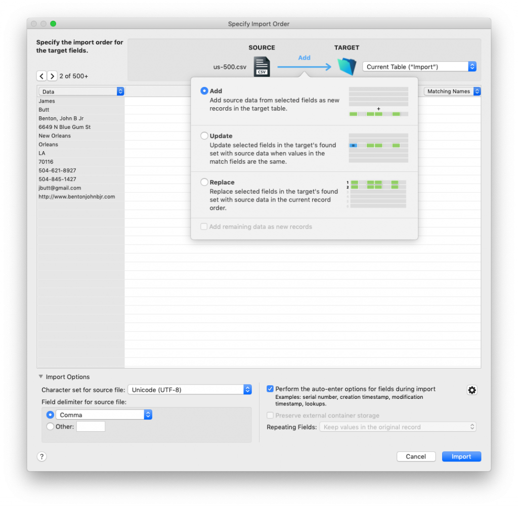 new FileMaker 18 import UI