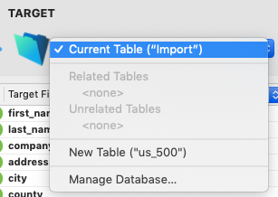 Target - current table
