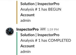 Slack notifications for analysis begun and completed
