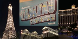 collage of vegas hotels lighted at night and Tableau Conference sign