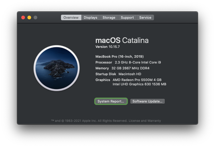 overview of configuration for Intel-based MacBook Pro running macOS Catalina